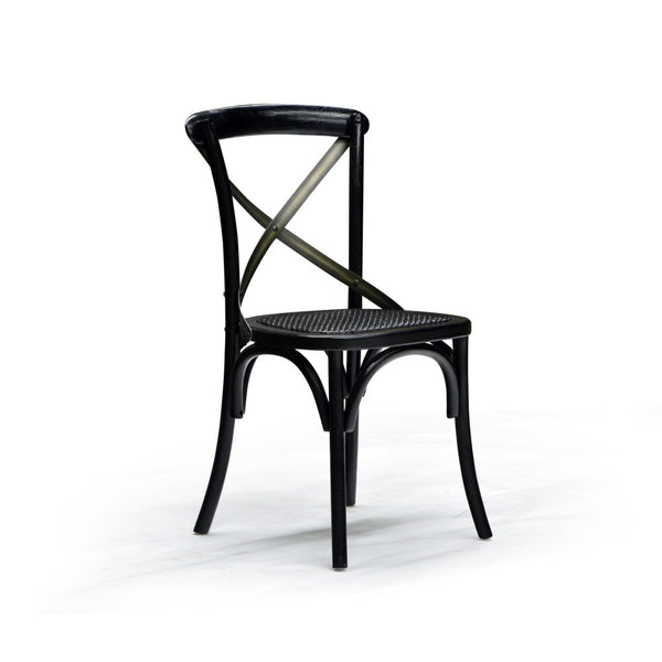 Black Rattan Seat Dining Chair - Cross Back