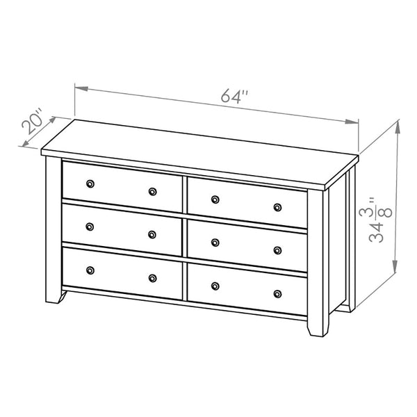 Solid Wood Canadian Made 6 Drawer Dresser - Rough Sawn