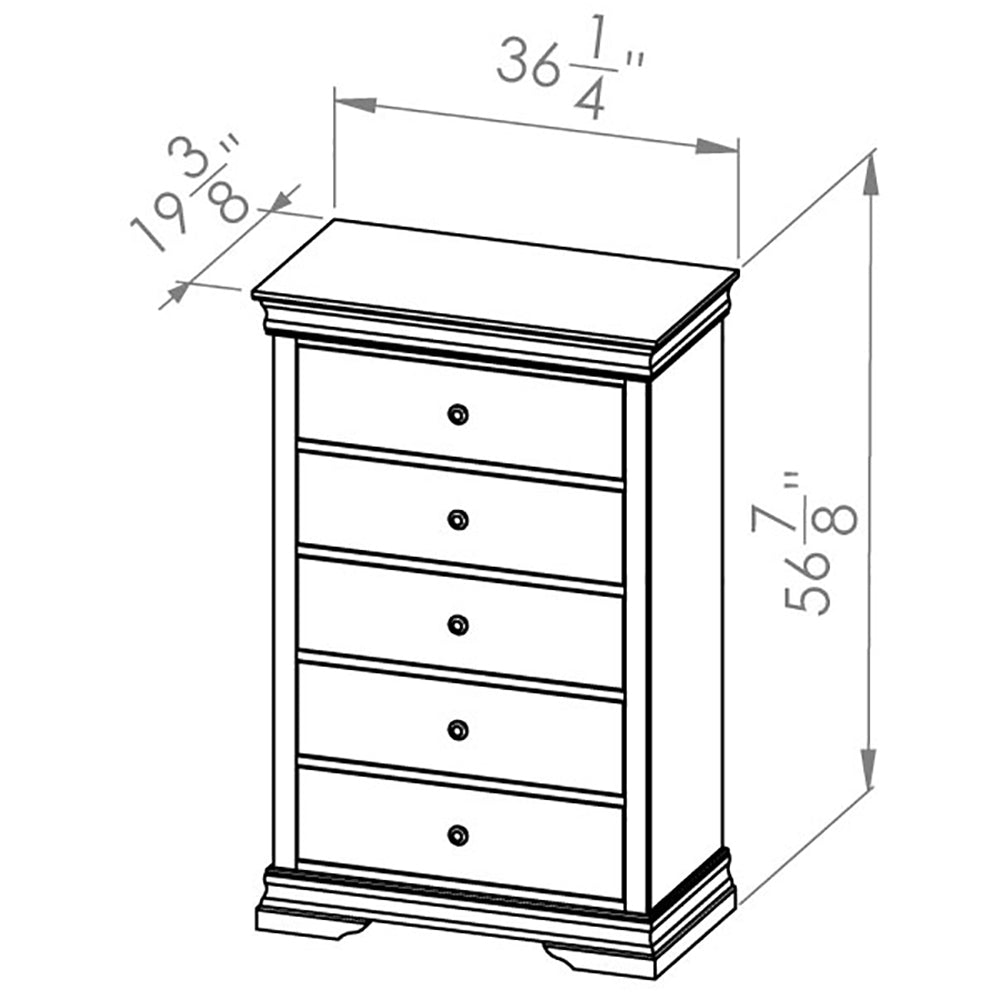Solid Wood Canadian Made 5 Drawer Chest- Louis Rustique