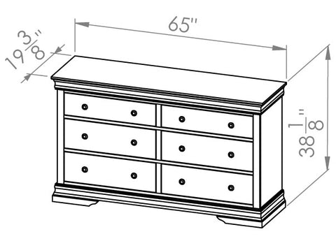 Solid Wood Canadian Made 6 Drawer Dresser- Louis Rustique