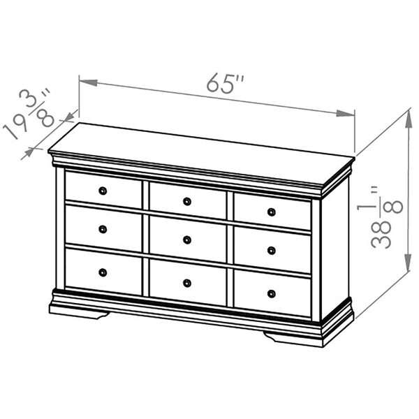 Solid Wood Canadian Made 9 Drawer Dresser- Louis Rustique