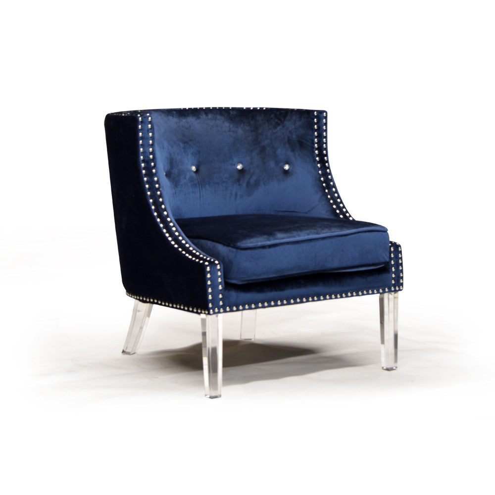 Nail Head Trim Velvet Accent Chair - Lucy