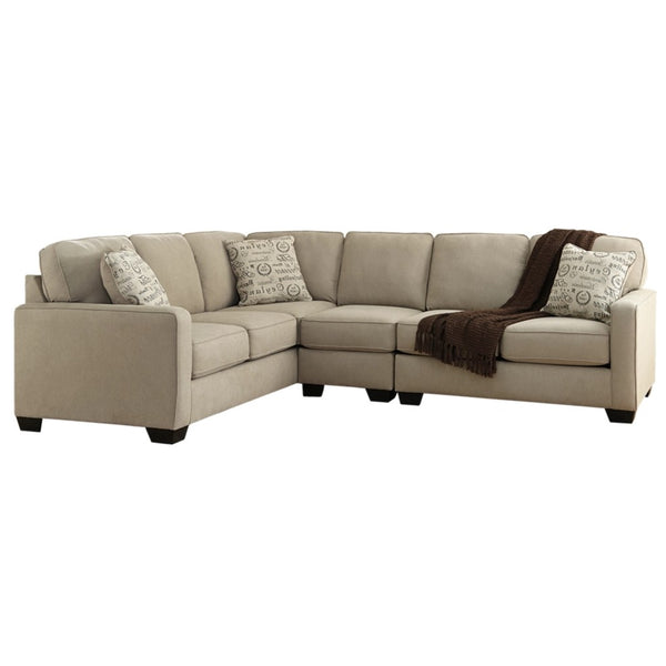 Edmonton Furniture Store | Cream Fabric 6 Seat Sectional - 166