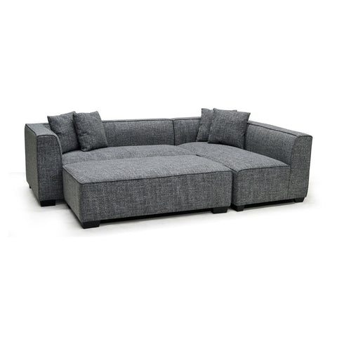 Contemporary sectional w/ottoman in fabric - 9065