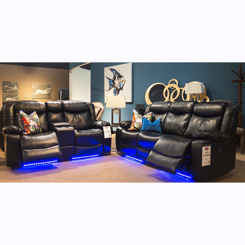 Edmonton Furniture Store | Power Black Leather Aire Recliner Set - 9084