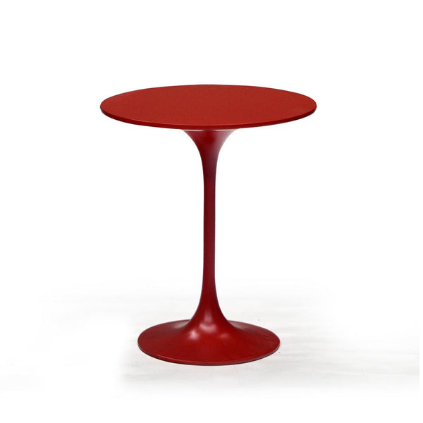 Red Round Modern End Table