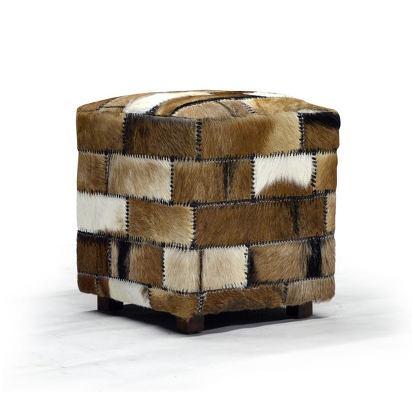 Real Hair Leather Ottoman - Rio