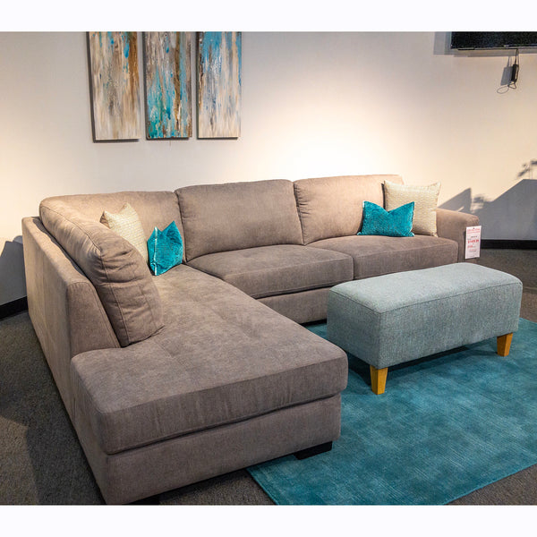 Edmonton Furniture Store | Ultra Comfort Fabric Sectional with Track Arm- 9504