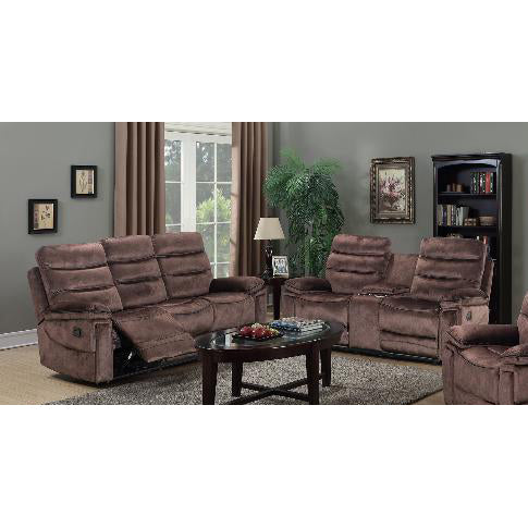 Mocha Velvet Reclining Sofa Loveseat Set - 9610