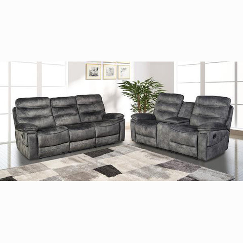 Edmonton Furniture Store | Charcoal Velvet Reclining Set with Drop Down Tray 9610