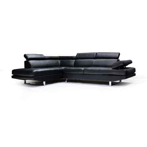 Edmonton Furniture Store | LHF Black Bonded Leather Sectional - 9782