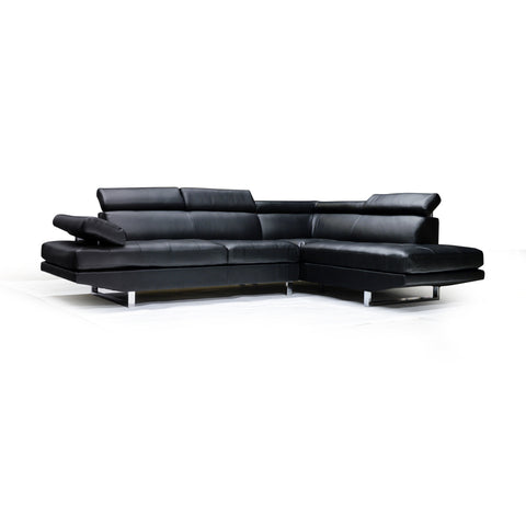 Custom LHF Black Bonded Leather Sectional - 9782
