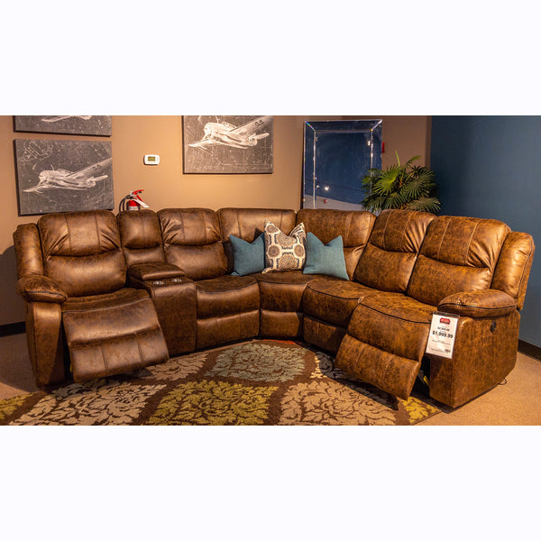 Edmonton Furniture Store | Grey or Brown Power Recliner Sectional - 9849