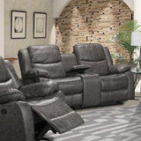 Edmonton Furniture Store | Contemporary Grey Leather Looking Reclining Glider Sofa Set - 9849