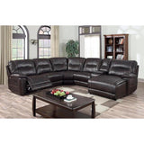Edmonton Furniture Store | Brown Leather Left Hand Face U-Shape Reclining Sectional - 9917 Leather Aire Sectional