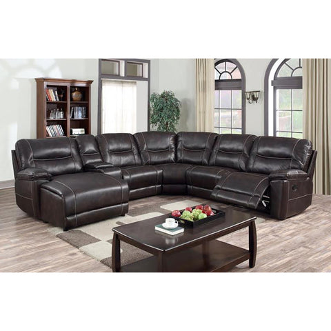 Edmonton Furniture Store | Brown Left Hand Face U-Shape Reclining Sectional - 9917 Leather Aire Sectional