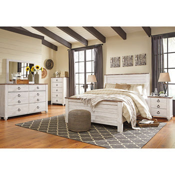 Edmonton Furniture Store | Urban Rustic White Wash Queen Bed - B267