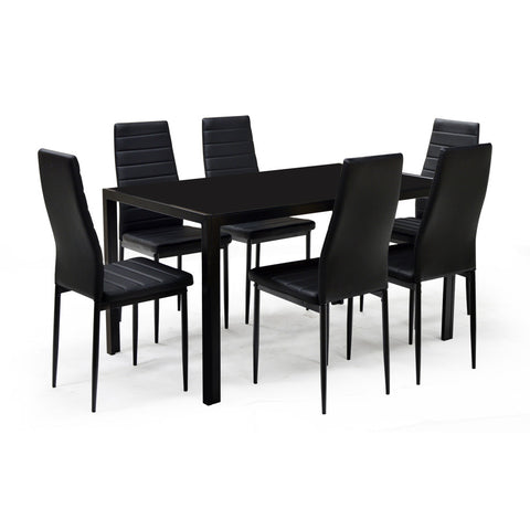 Glass Dining Table w/6 Chairs - Contra Black
