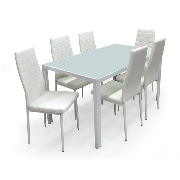 Glass Dining Table w/6 Chairs - Contra White