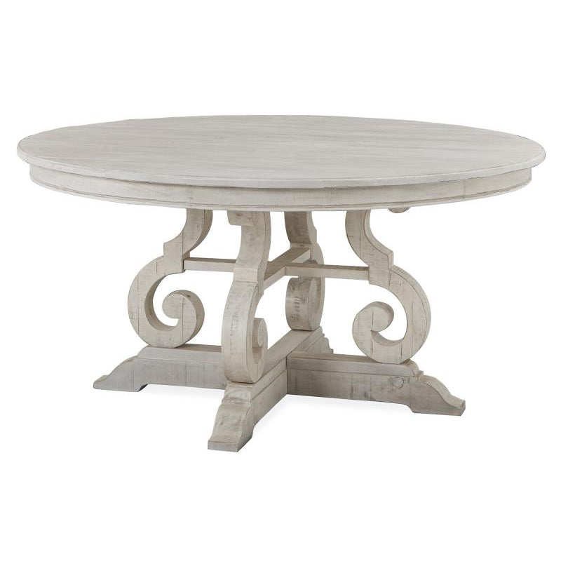 Edmonton Furniture Store | White Wash Rustic Solid Round Dining Table  - Bronwyn