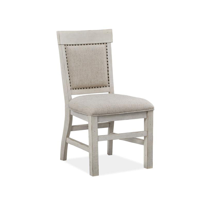 Edmonton Furniture Store | White Wash Rustic Solid Dining Chair w/ Upholstered Seat & Back - Bronwyn