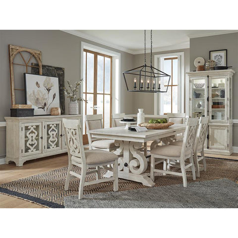 Edmonton Furniture Store | White Wash Rustic Solid Dining Table with 2 Butterfly Leaf - Bronwyn