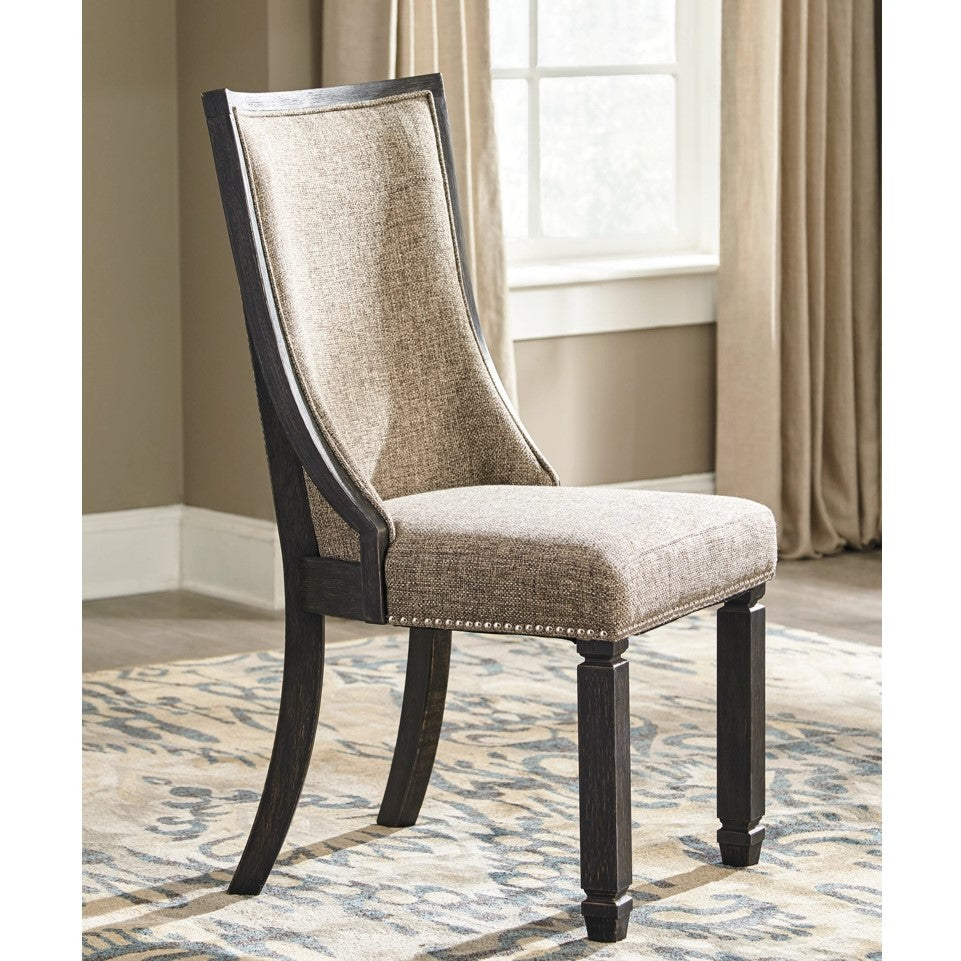Edmonton Furniture Store | Black Textured Upholstered Side Chair - D736