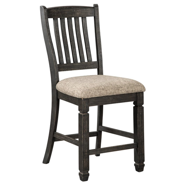 Edmonton Furniture Store | Black Textured Upholstered Barstool - D736