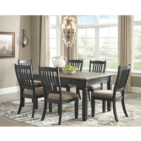 Edmonton Furniture Store | Black Textured Table W/ 4 Chair & Bench- D736