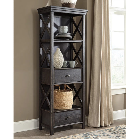Edmonton Furniture Store | Black Textured Display Cabinet- D736