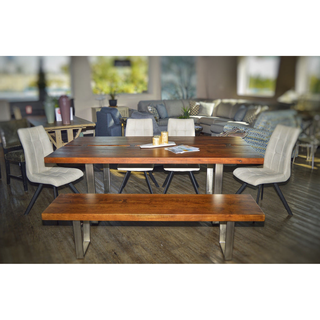 Live Edge Solid Acacia Dining Table Set