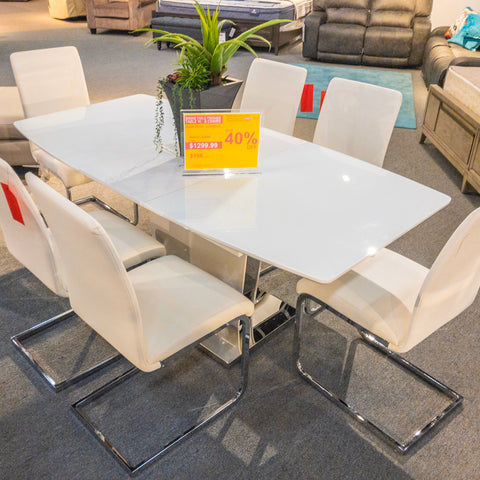Edmonton Furniture Store |  Lacquer Top Dining Table with Extension - 7385
