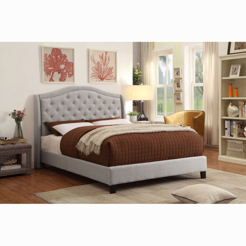 Edmonton Furniture Store | Transitional Tufted Grey Fabric Upholstered Platform Bed - Louvre