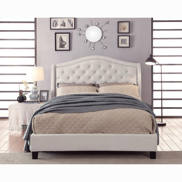 Edmonton Furniture Store | Transitional Tufted Ivory Fabric Upholstered Platform Bed - Louvre