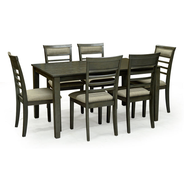 Solid Wood Contemporary Dinning Table w/ 6 Chairs