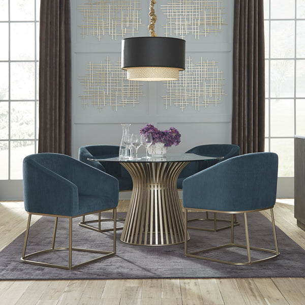 "Edmonton Furniture Store | Palliser 48"" Glass Table with Brass Base Table Set - Naomi"