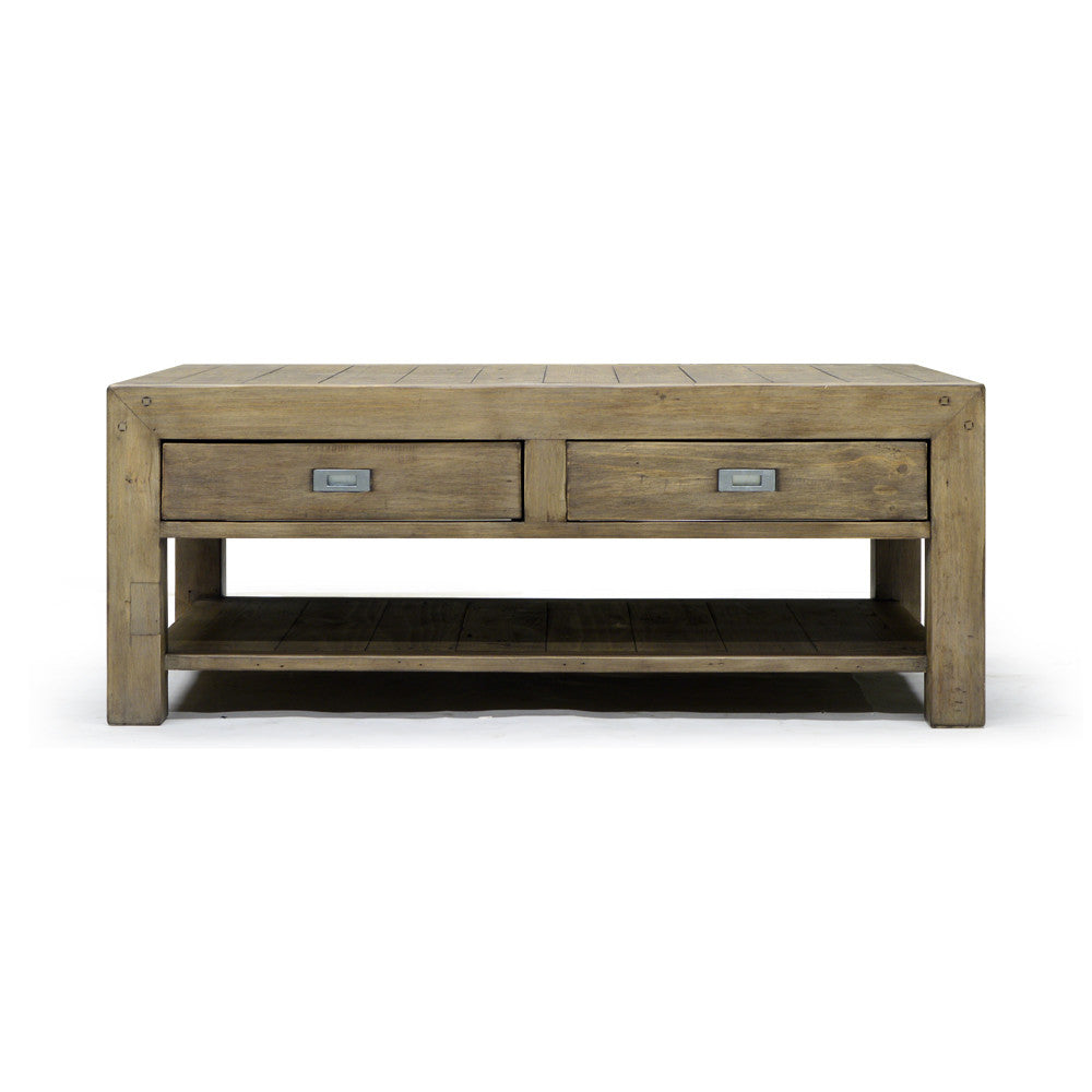 Reclaimed and Recycled Wood Regular Coffee Table - Post & Rail