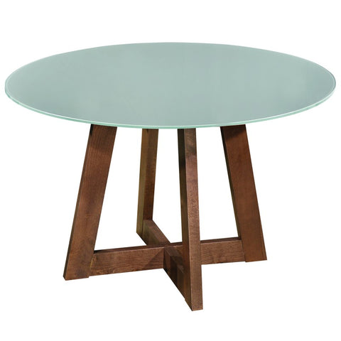 Edmonton Furniture Store | Middle Century Modern Round Glass-Top Dining Table in Walnut - Sonos