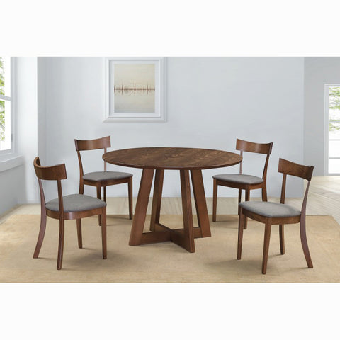 Edmonton Furniture Store | Middle Century Modern Round Wood Top 5 Pcs Dining Table Set in Walnut - Sonos