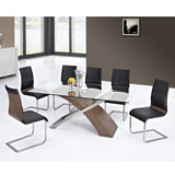 Modern Glass Top Dining Table w/6 Chairs - Veneta
