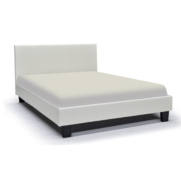 Leather Looking Platform White Queen Bed - Volt