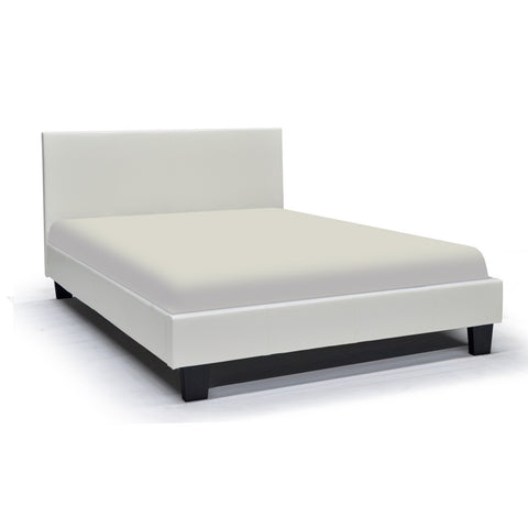 Leather Looking Platform White Double Bed - Volt