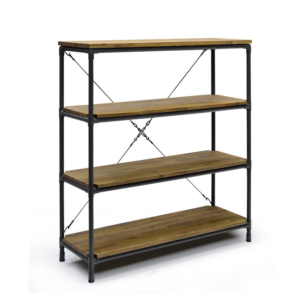 Acacia Wood with Metal Pipe Bookshelf - Workshop WSA010