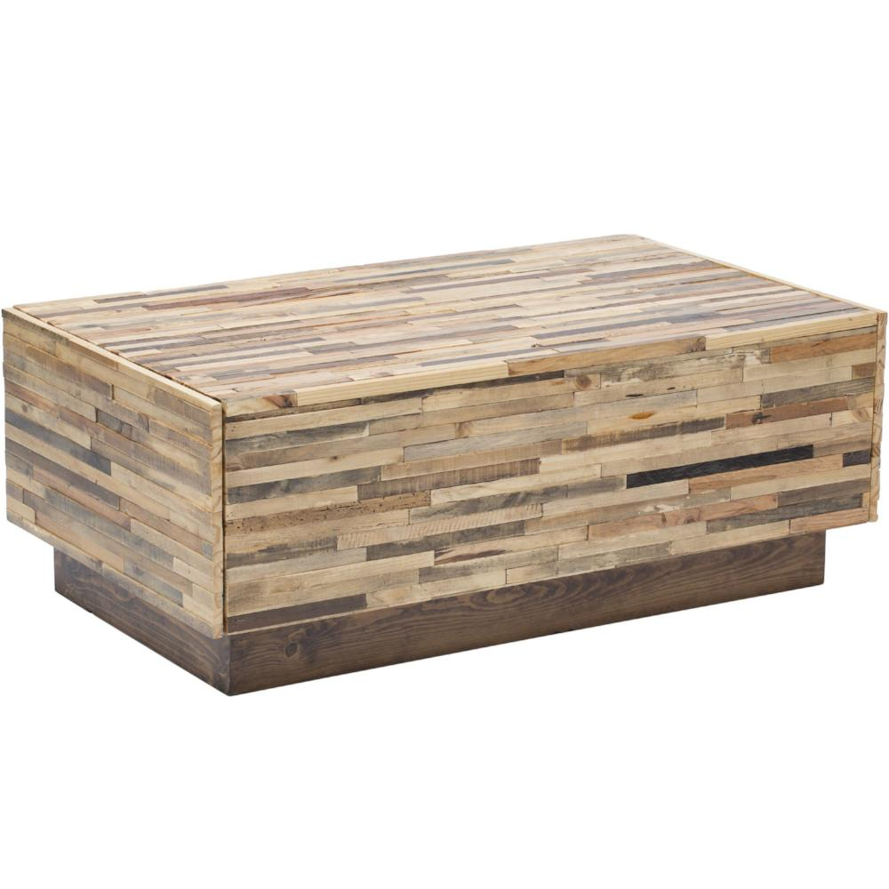 2-Drawer Reclaimed Pine Wood Coffee Table - Caledonia
