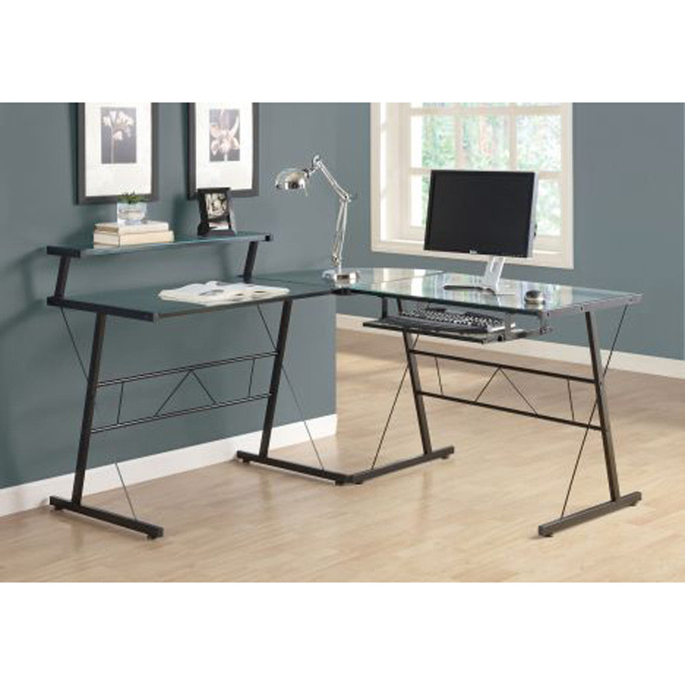 Contemporary L Shaped Glass Top Computer Desk - I 7172