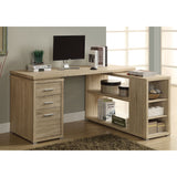 L Shaped Computer Desk with Drawers and Shelves