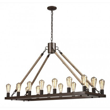 LA1276RP -Reclaimed Rope Rectangular Chandelier
