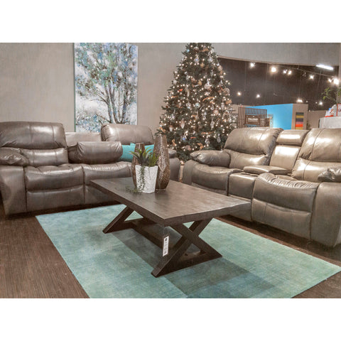 Edmonton Furniture Store | Grey Leather Aire Reclining Glider Sofa Set - R7069