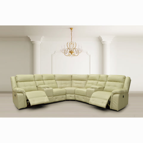 Leather Aire Power Recliner Sectional - 7217