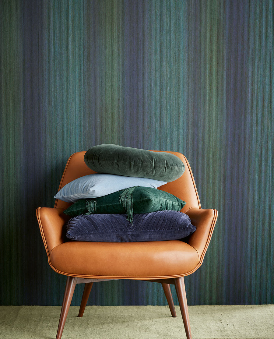 Tate Ombre Teal Stripe Wallpaper